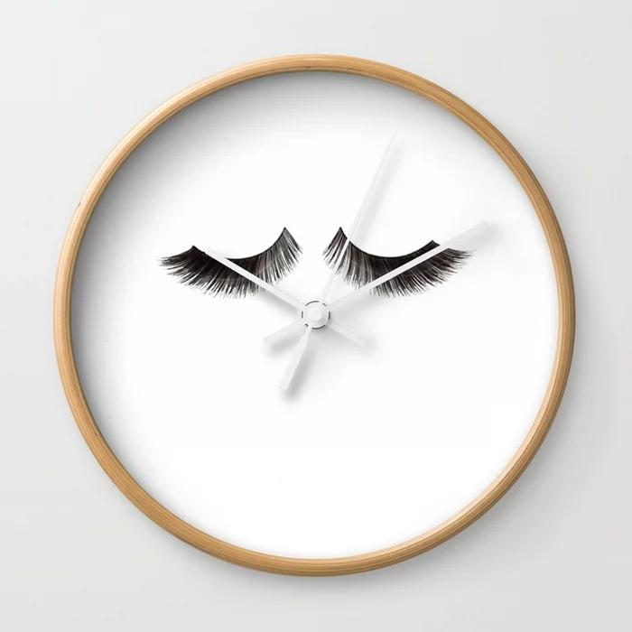 lashes-print-fashion-illustrationfashionistalashes-wall-decormakeup-printmakeup-bathroom-signp-wall-clocks (1)